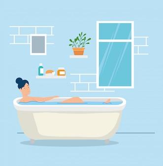 Mujer en bañera