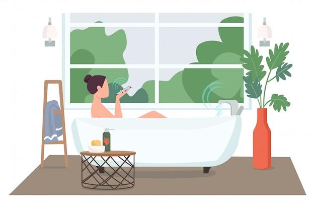 Mujer en baño automatizado color plano sin rostro personaje. jovencita con smartphone tomando baño. ilustración de dibujos animados de control de tecnología de hogar inteligente para diseño gráfico web y animación
