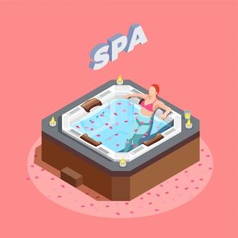 Mujer en baño con pétalos de rosa