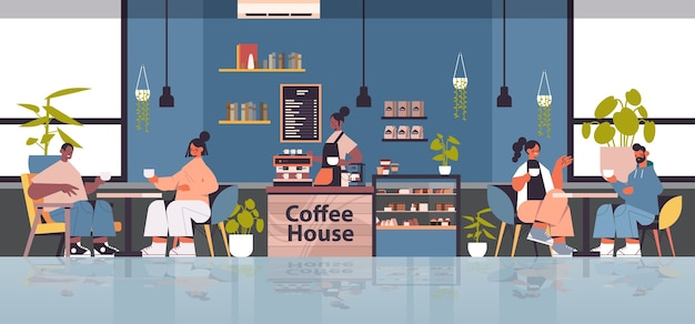 Mujer barista en uniforme trabajando en cafetería camarera en delantal haciendo café para clientes de raza mixta moderno café interior horizontal ilustración vectorial de longitud completa
