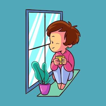 Mujer bebiendo té y mirando por la ventana