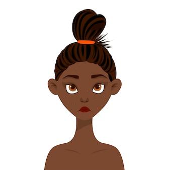 Mujer de belleza con acné en la cara. estilo de dibujos animados ilustración.