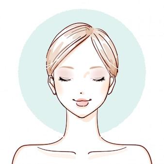 Mujer de belleza_después de maquillar los ojos cerrados