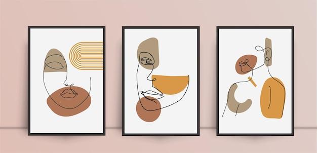 Mujer, belleza, extracto, arte de la pared, conjunto