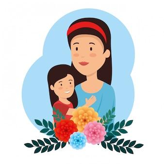 Mujer de belleza con su hija y flor para el día de la madre