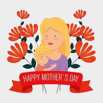 Mujer de belleza con su hijo y flores para el día de la madre