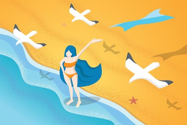 Mujer en bikini de pie en la playa siéntase libre en verano
