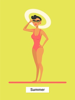Una mujer en bikini rojo en verano.