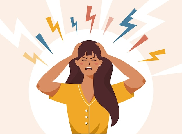 Mujer con la boca abierta, agarrándose la cabeza con ambas manos, sufriendo de dolor de cabeza, pánico, depresión