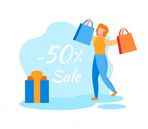 Mujer con bolsas brillantes. ventas y descuentos. tienda.