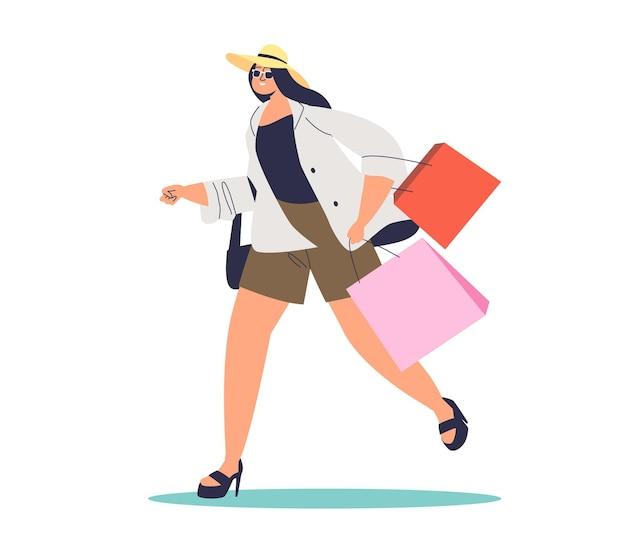 Mujer, con, bolsas de compras, funcionamiento