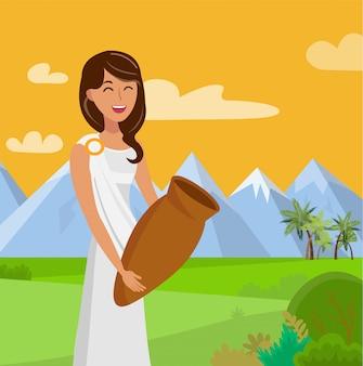 Mujer bonita con ilustración de color plano de tarro