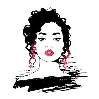 Mujer bonita joven. ilustración de moda, boceto.