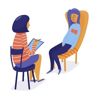 Mujer bonita joven, muchacha que visita a un terapeuta, sintiéndose triste y frustrada, ejemplo plano del vector