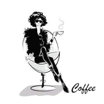 Mujer bonita joven tomando café