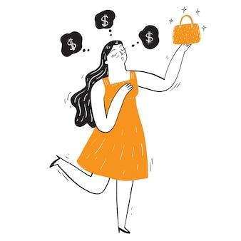 Mujer bonita con su bolso nuevo con una burbuja soñando con dinero.