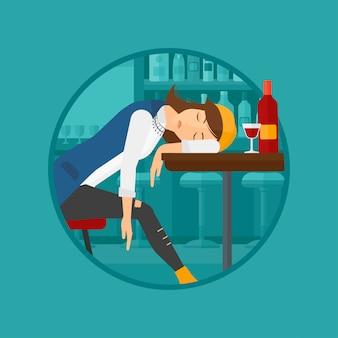 Mujer borracha durmiendo en el bar.