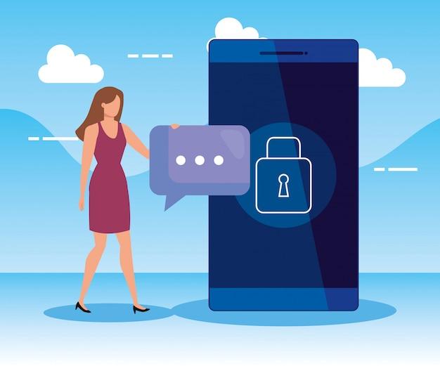 Mujer con burbuja de chat y tecnología de teléfono inteligente