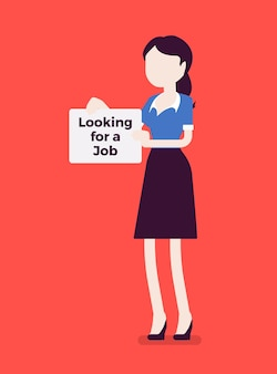 Mujer en busca de un cartel de anuncio de trabajo. solicitante que no tiene trabajo remunerado, desempleado que busca empleo, que intenta encontrar un lugar de trabajo, candidato desempleado. ilustración vectorial, personajes sin rostro