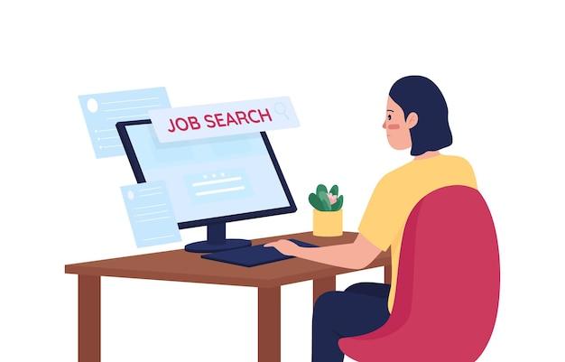 Mujer en busca de trabajo en línea carácter detallado de color plano