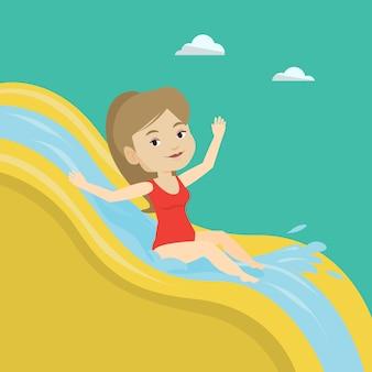 Mujer cabalgando por el tobogán de agua ilustración.