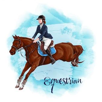 Mujer a caballo. deporte ecuestre.