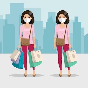 Mujer de cabello castaño y rizado con muchas bolsas de compras y máscara en dos posiciones diferentes