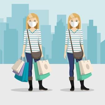 Mujer de cabello rubio con bolsas de compras y máscara en dos posiciones diferentes con fondo de ciudad