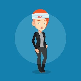 Mujer con cabeza lesionada.