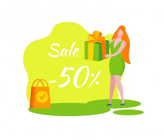 Mujer con caja de regalo verde en las manos. cartel de venta.