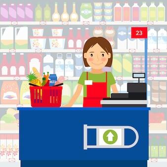 Mujer cajera en la caja registradora y en un carrito de compras de comestibles. ilustración vectorial