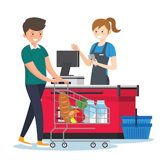 Mujer, cajero, en, supermercado