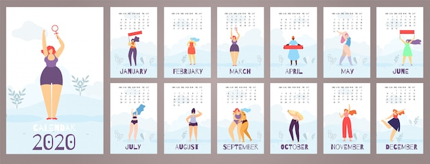 Imprimir Calendario 2020 Por Meses.Mujer Calendario 2020 12 Meses Feminista Estilo Plano Descargar