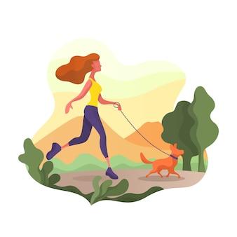 Mujer caminando con perro en el parque. ella está muy contenta.