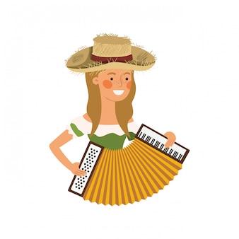 Mujer campesina con instrumento musical