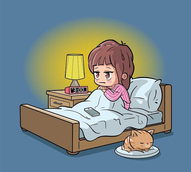 Mujer cansada que sufre de insomnio