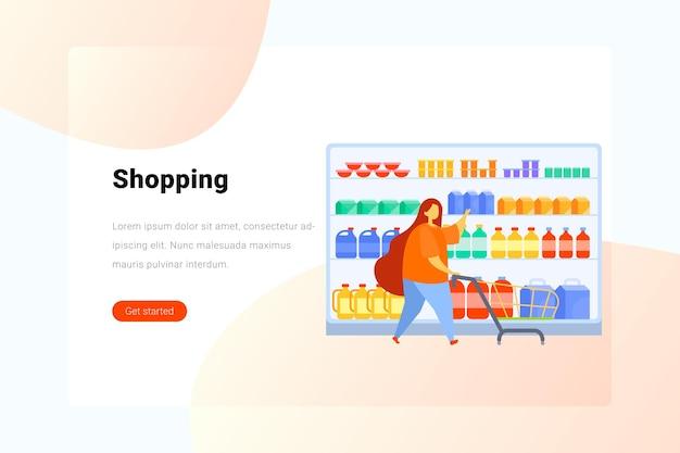 Mujer con carrito de compras elige toma mercancías del estante en el supermercado ilustración plana