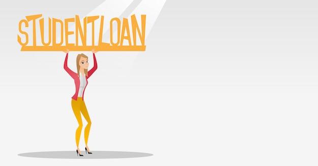 Mujer con cartel de préstamo estudiantil