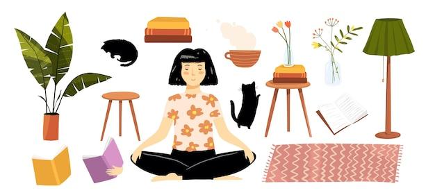 Mujer en casa leyendo, plantas, libros y elementos de mobiliario colección de imágenes prediseñadas.