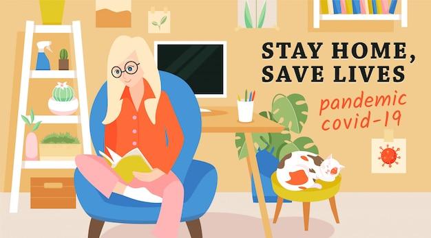 Mujer en casa, pancarta sobre la prevención del virus corona. quedarse en casa, salvar vidas concepto.