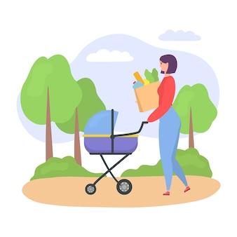 Mujer casual, madre caminando con su bebé en la carriola, mujer empujando el cochecito con el niño recién nacido y bolsas de comida aislados en blanco ilustración.