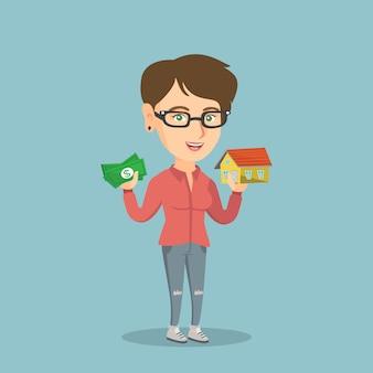 Mujer caucásica comprar casa gracias al préstamo.