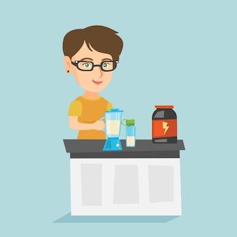 Mujer caucásica joven haciendo cóctel de proteínas.