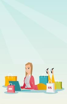Mujer caucásica joven que hace compras en línea.