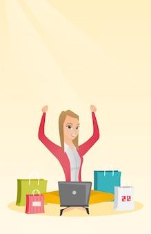 Mujer caucásica usando una laptop para compras en línea
