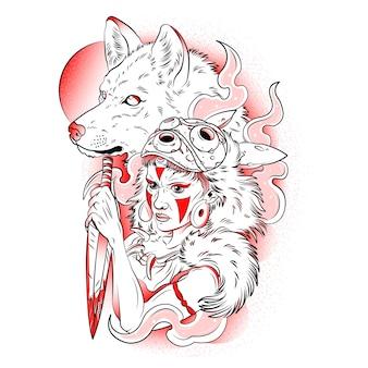 Mujer cazadora con lobo salvaje