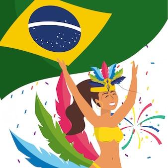Mujer celebrando carnaval de brasil ilustración vectorial