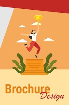 Mujer celebrando la victoria. chica sosteniendo la copa de oro en la ilustración de vector plano de podio ganador. ganar, éxito, concepto de logro