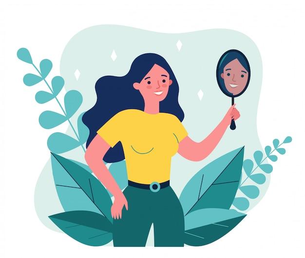 Mujer centrada en sí misma que sufre de narcisismo