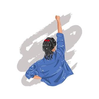 Mujer con chaqueta de mezclilla azul levantando el puño como símbolo del poder femenino. día internacional de la mujer. diseño plano.